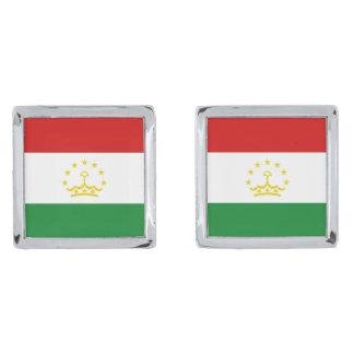 Tajikistan Flag Cufflinks Silver Finish Cuff Links
