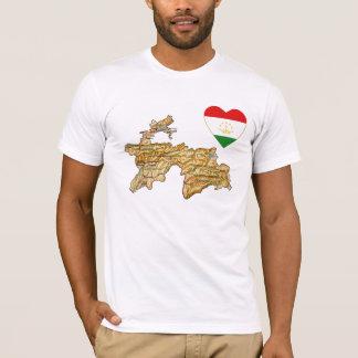 Tajikistan Flag Heart and Map T-Shirt