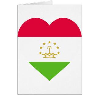 Tajikistan Flag Heart Cards