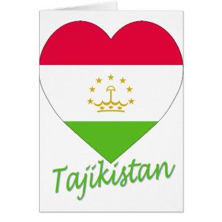 Tajikistan Flag Heart Card