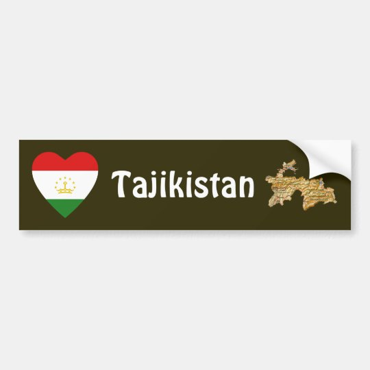 Tajikistan Flag Heart + Map Bumper Sticker