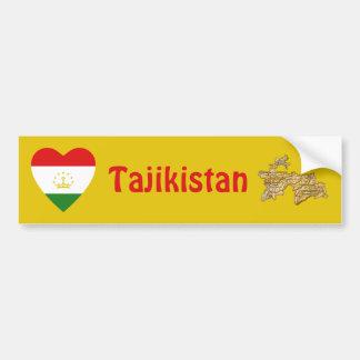 Tajikistan Flag Heart + Map Bumper Sticker