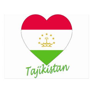 Tajikistan Flag Heart Postcard