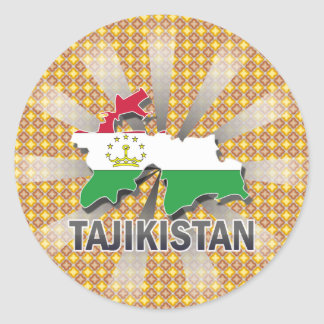 Tajikistan Flag Map 2.0 Classic Round Sticker