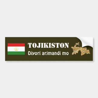 Tajikistan Flag + Map Bumper Sticker