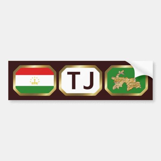 Tajikistan Flag Map Code Bumper Sticker