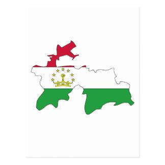 Tajikistan flag map postcard