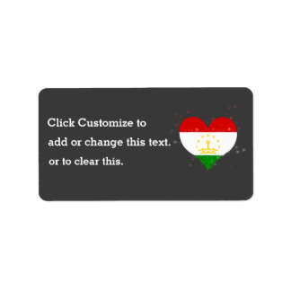 Tajikistan Flag Shining Beautiful Address Label