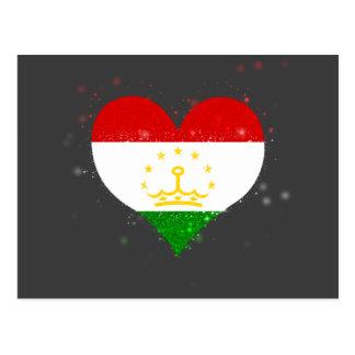 Tajikistan Flag Shining Beautiful Postcard