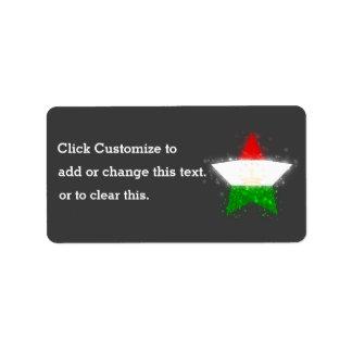 Tajikistan Flag Shining Address Label