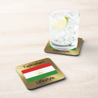 Tajikistan Flag+Text Coaster
