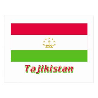 Tajikistan Flag with Name Postcard