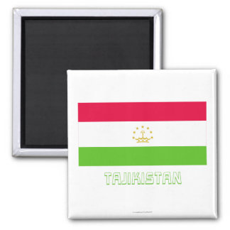 Tajikistan Flag with Name Refrigerator Magnets