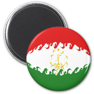 Tajikistan Gnarly Flag 6 Cm Round Magnet