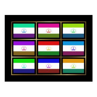 Tajikistan Multihue Flags Postcard