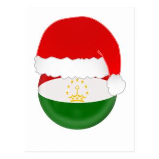 Tajikistan Santa, flag and hat Postcard