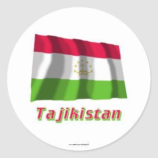 Tajikistan Waving Flag with Name Classic Round Sticker