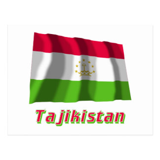 Tajikistan Waving Flag with Name Postcard