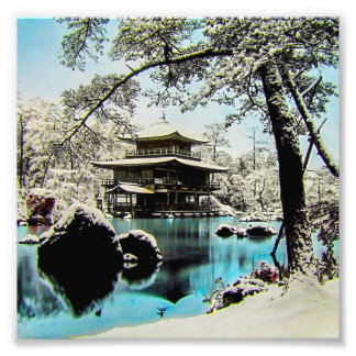 TAKAGI Glass Magic Lantern Slide KINKAKUJI GARDENS Photo Print