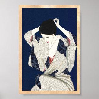 Takasawa Keiichi Hair classic japanese lady woman Poster