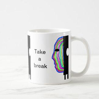 Take a break text and coloured head basic white mug