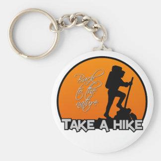 Take a hike key chain, customizable basic round button key ring