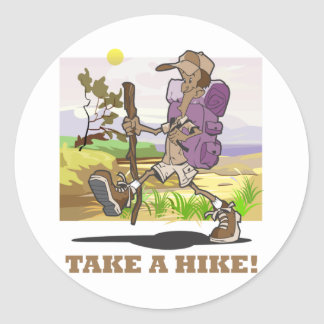 Take a Hike Round Stickers
