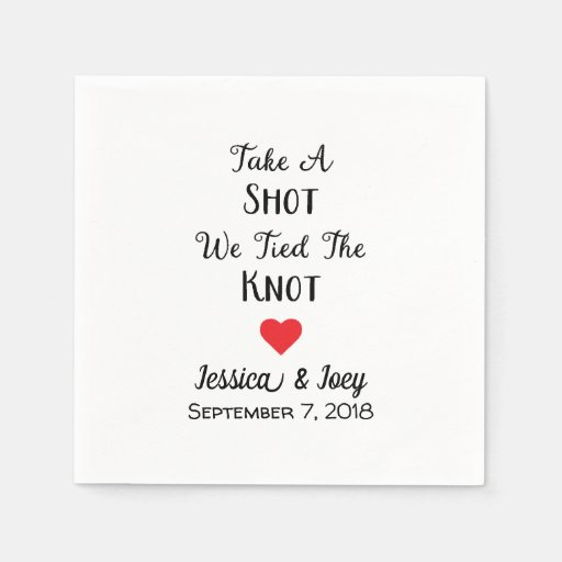 Take A Shot We Tied The Knot Cocktail Napkins Disposable Napkin