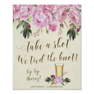 Take a shot we tied the knot wedding sign lilac