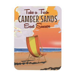 Take a train to Camber Sands Travel Poster Rectangular Photo Magnet