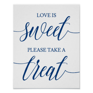 Take A Treat  Wedding Sign Navy Blue Calligraphy