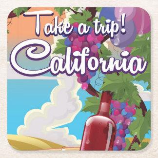 Take a Trip! California vintage wine travel poster Square Paper Coaster