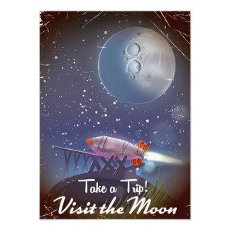 Take a Trip! Visit the Moon vintage cartoon poster Photo Art