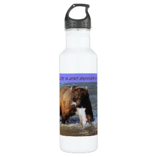 take a walk on the wild side grizzly bear liberty  710 ml water bottle
