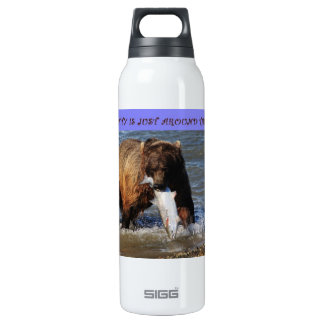 take a walk on the wild side grizzly bear liberty  16 oz insulated SIGG thermos water bottle