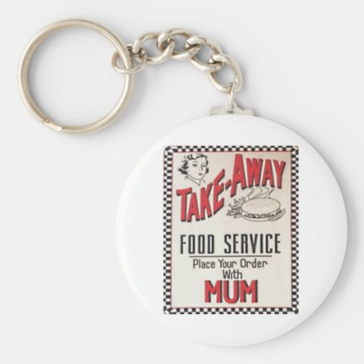 TAKE-AWAY FOOD SERVICE -Vintage 1950 Sign Keychain