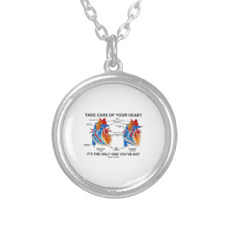 Take Care Of Your Heart It's Only One You've Got Round Pendant Necklace
