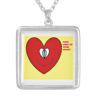 Take Care Of Your Heart Square Pendant Necklace