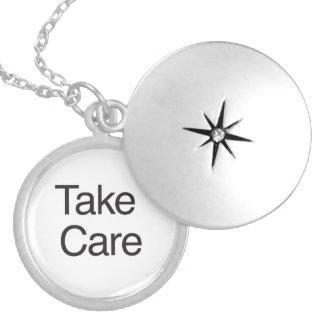 Take Care Round Locket Necklace