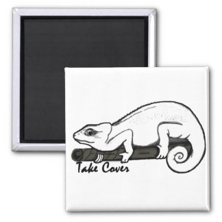 Take Cover Paintball Lizard Square Magnet
