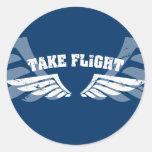 Take Flight Aviation Wings Round Sticker