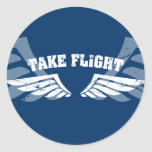 Take Flight Aviation Wings Round Stickers