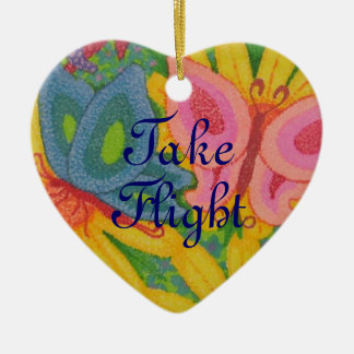 Take Flight Dual Butterfly Heart Shaped Ornament