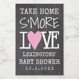 Take Home S'More Love Girls Baby Shower Food Label
