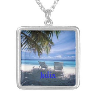 Take Me Away BEACH Silver PLATED Necklace