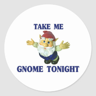 Take Me Gnome Tonight Classic Round Sticker