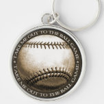 Take Me Out to the Ball Game Silver-Colored Round Key Ring