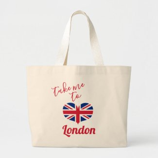 Take me to London  Heart Shaped UK Flag Union Jack Large Tote Bag