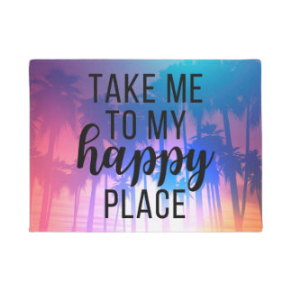 Take Me To My Happy Place Boho Beach & Palm Trees Doormat