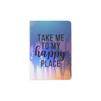 Take Me To My Happy Place Boho Beach & Palm Trees Passport Holder